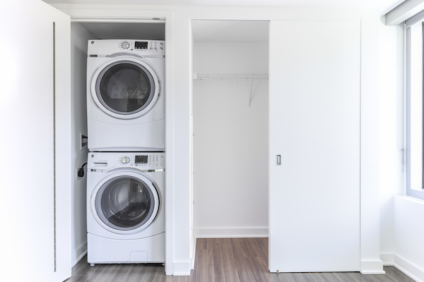 In-home washer and dryer in closet.