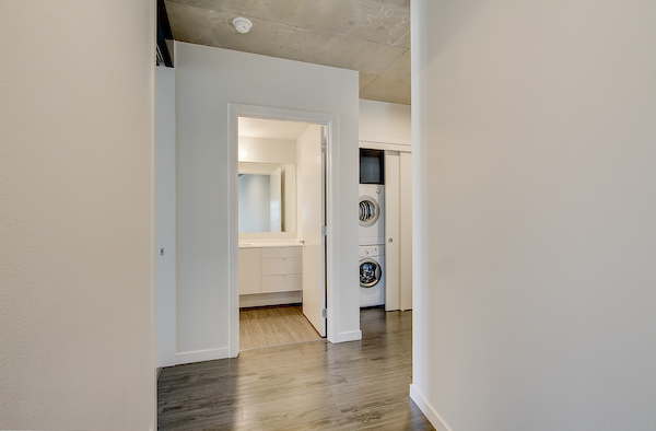 Hallway with hardwood-style vinyl flooring