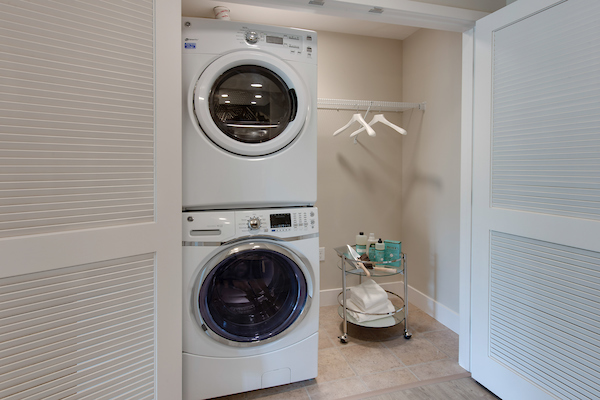 In-home washer and dryer in large closet.