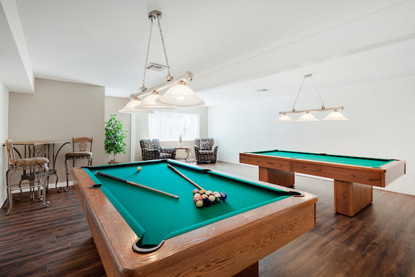 Clubroom with pool tables.