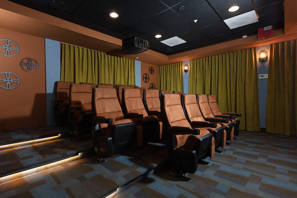 Carpeted theater room.