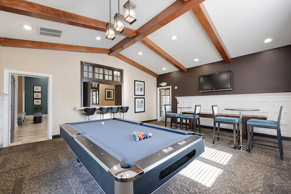 Recreation room with a pool table