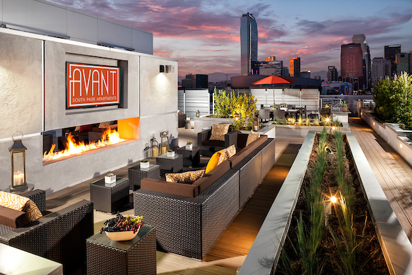 Rooftop lounge with fireplace