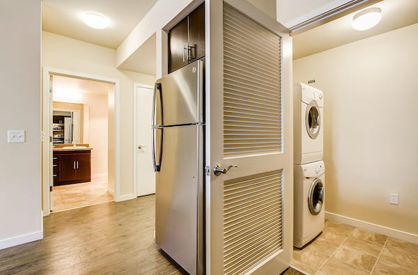 Refrigerator and In-Home Washer and Dryer
