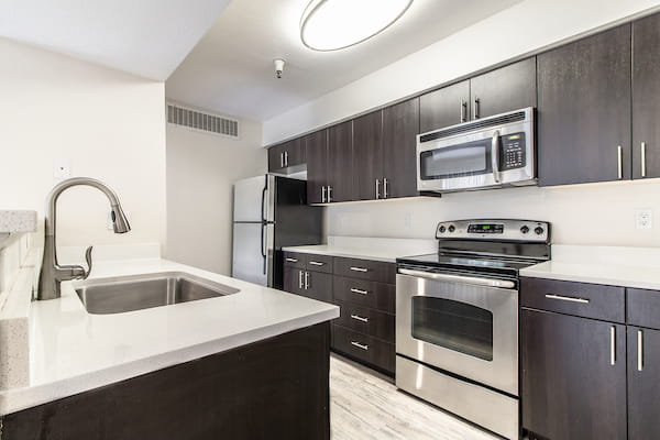 Kitchen with stainless steel appliances, back splash and hardwood style flooring.