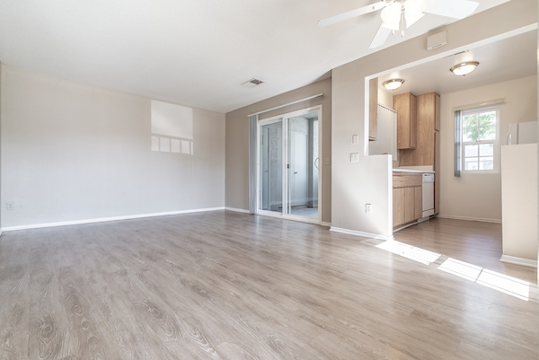 Room with Hardwood-style vinyl flooring