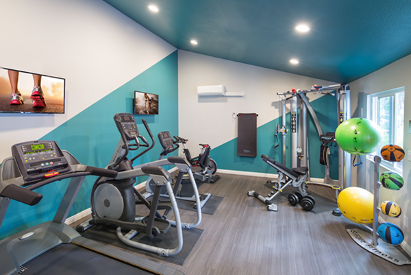 Outdoor patio with a fireplace