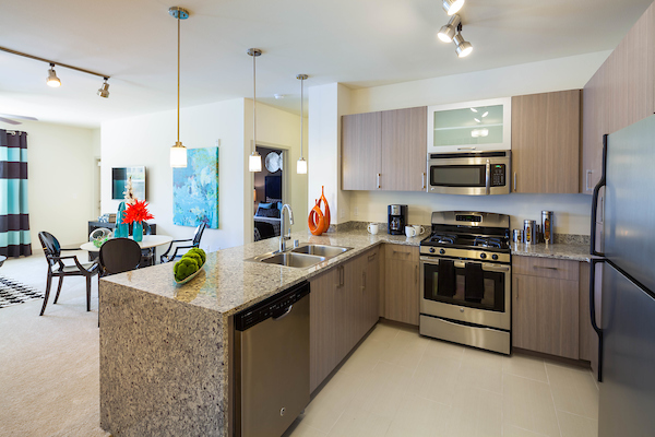 Kitchen with hard flooring, stainless steel appliances, and granite countertops.