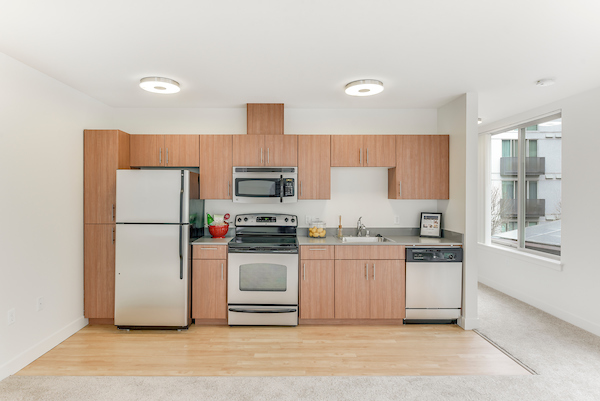 Kitchen with stainless steel appliances and hardwood-style flooring