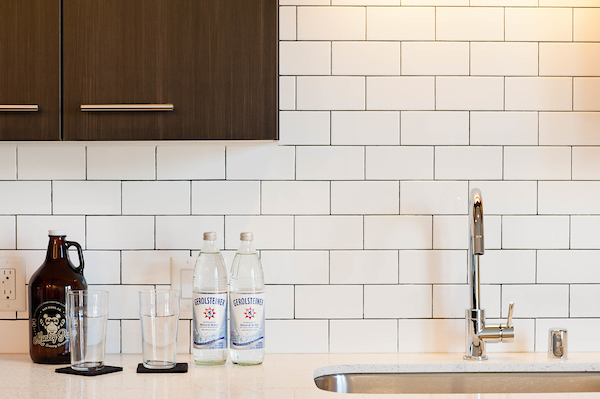 Kitchen with White Tiles