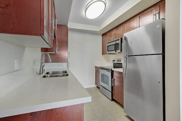 Kitchen with hard surface flooring and stainless steel appliances.