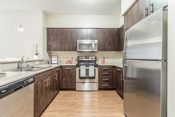 Kitchen with stainless steel appliances and hardwood-style vinyl flooring.