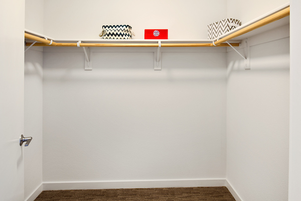 Storage closet with shelving.