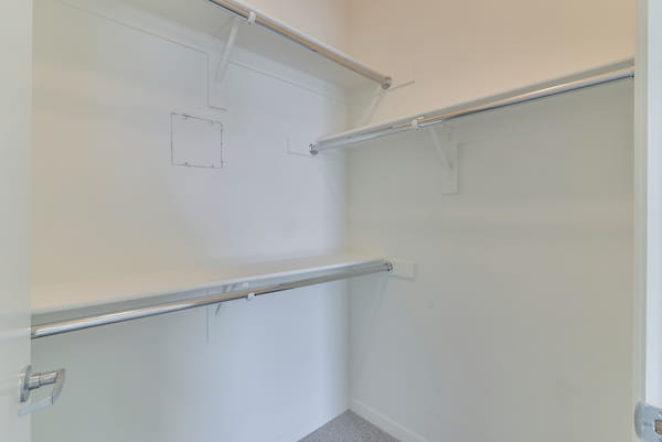 Walk-in closet with shelving and racks.