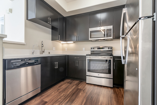 Kitchen with stainless steel appliances, window, and hardwood-style flooring.