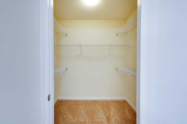 Walk-in closet with shelving.