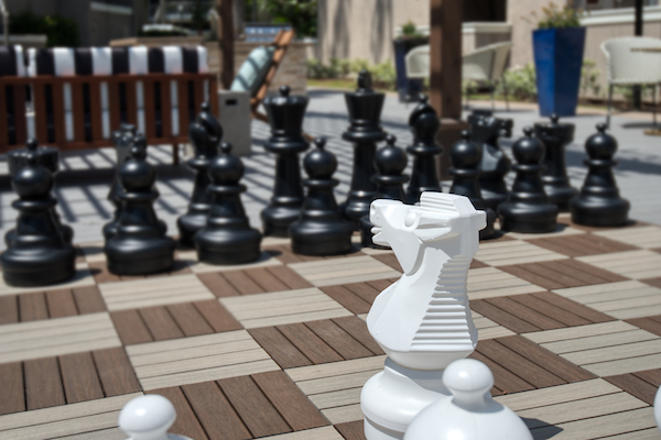 Outdoor oversized chess game board.