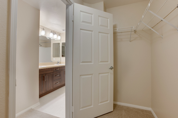 Walk-in closet with shelving adjacent to bathroom.