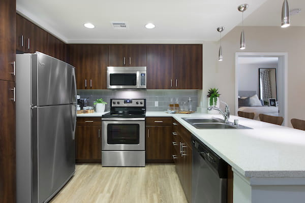 Modern kitchen with breakfast bar, hardwood-style flooring, stainless steel appliances, and quartz counter tops.