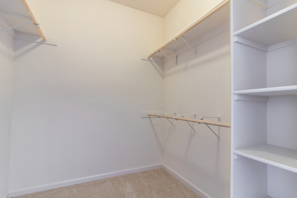 Large walk-in closet with shelving and rack.