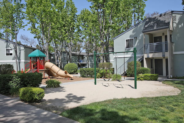 Community playground surrounded by lush landscaping.