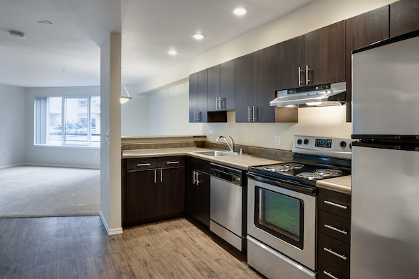 Kitchen with stainless steel and hardwood-style vinyl