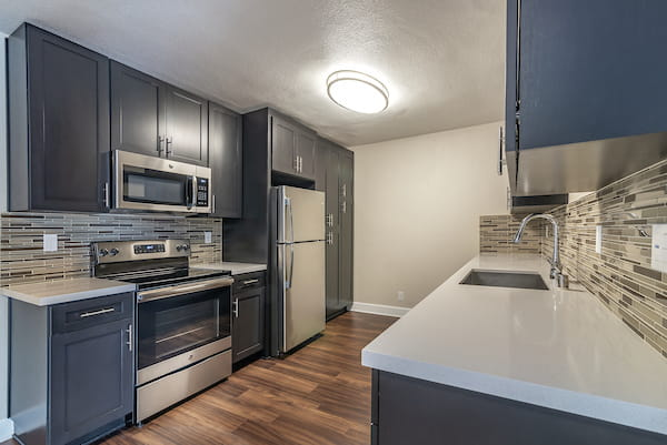 Kitchen with stainless steel appliances, quartz countertops, and hardwood-style vinyl flooring.