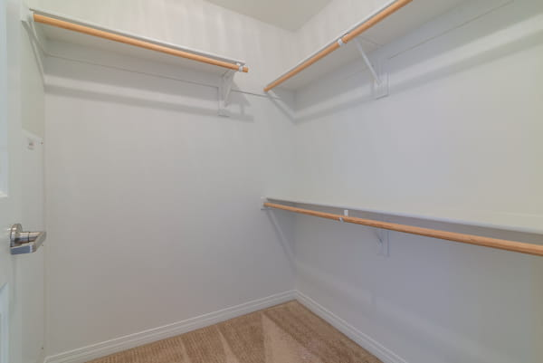 Walk-in closet with racks.