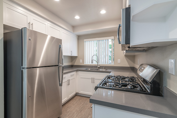 Kitchen with stainless steel appliances, hardwood style, vinyl flooring and a window over the sink.