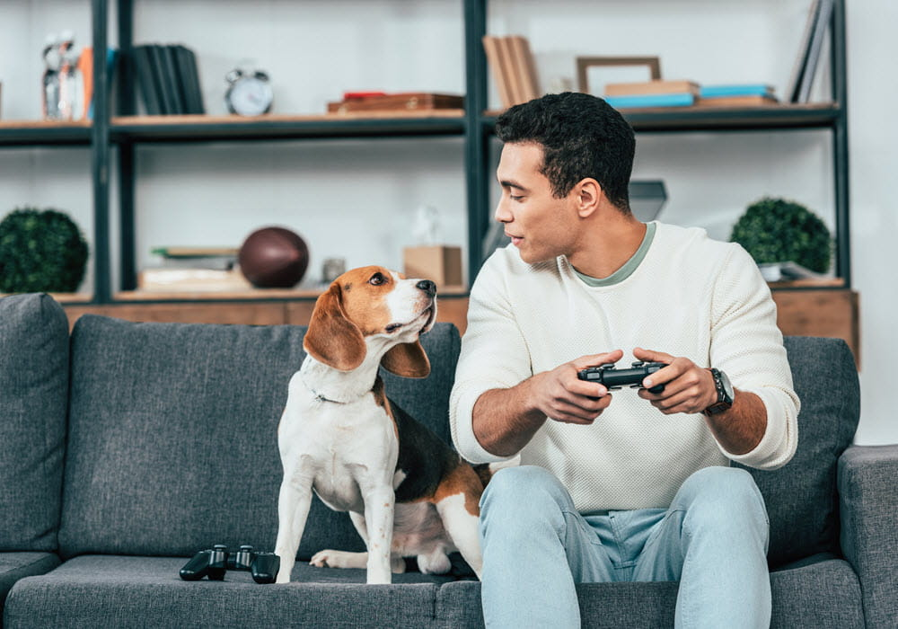 Young man sitting on a sofa next to his dog while playing video games.