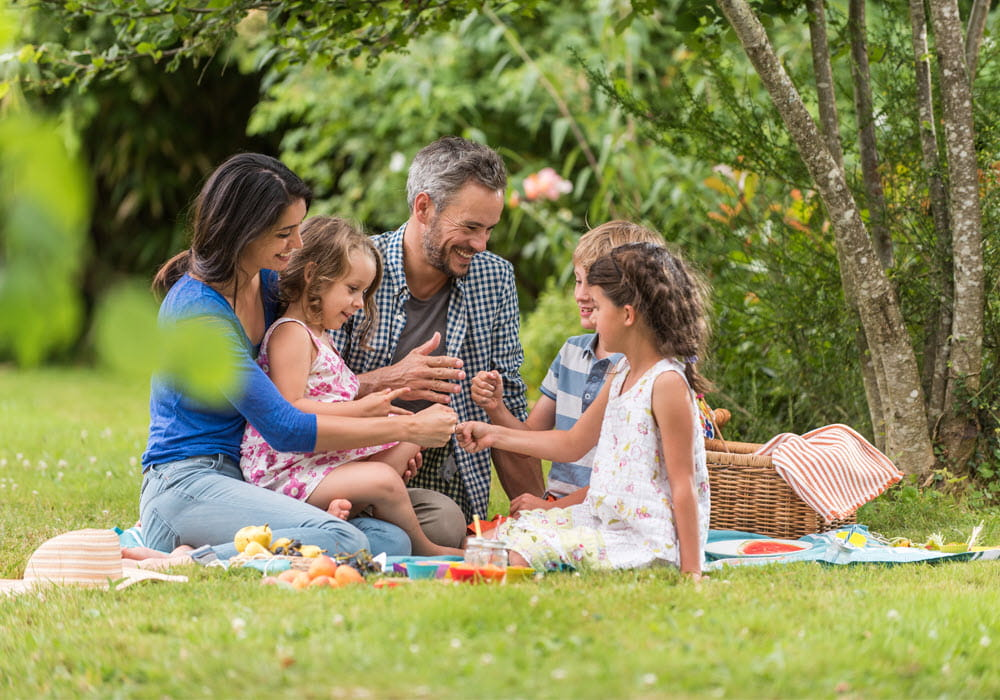Family of four having a picnic with Summer recipes