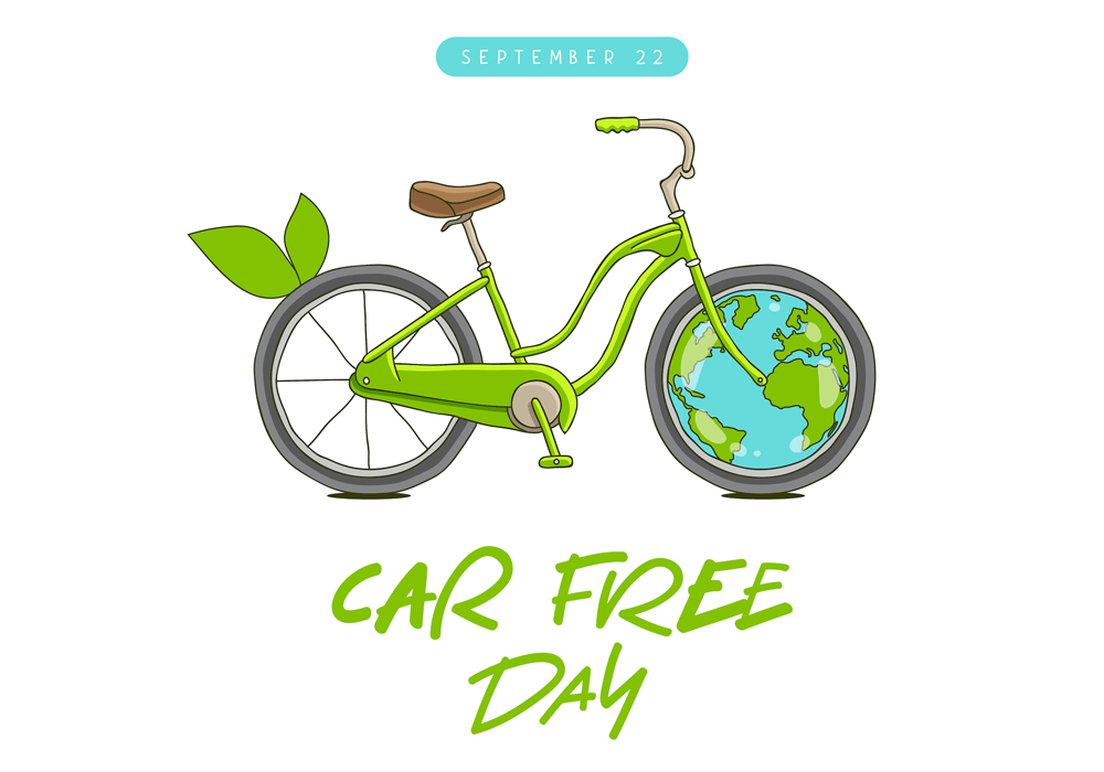 Green bicycle for Car Free Day with Earth as a wheel