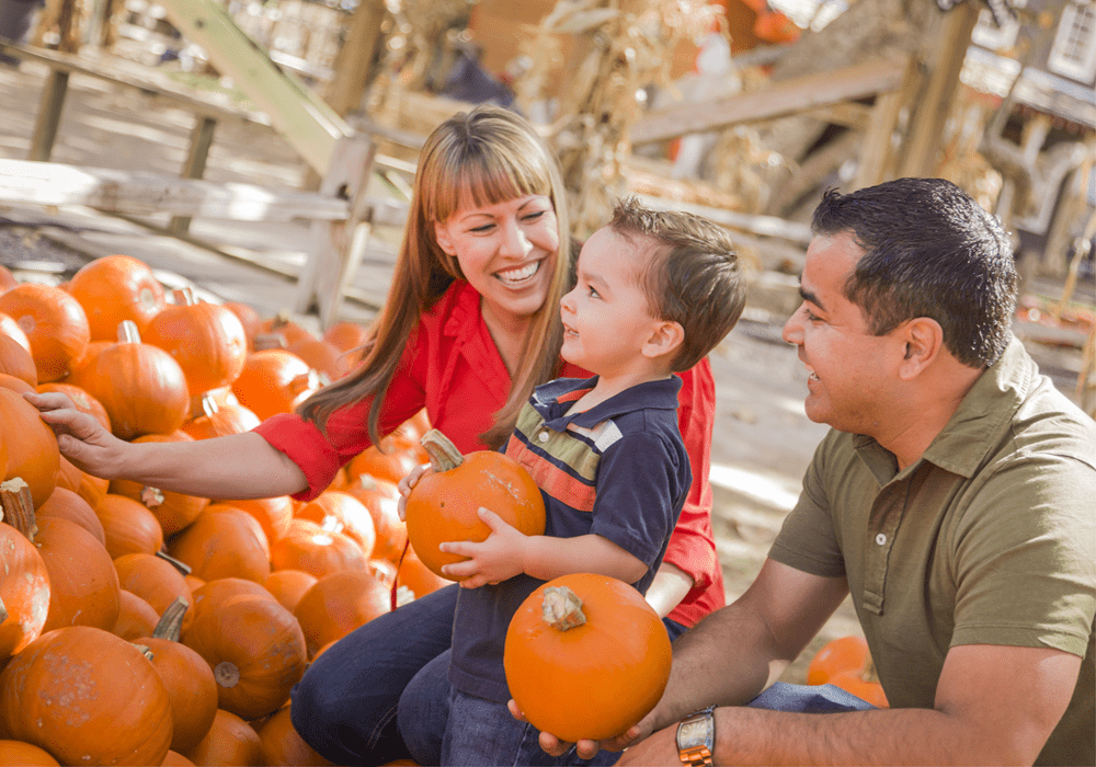 Family of 3 at a Southern California pumpkin patch.