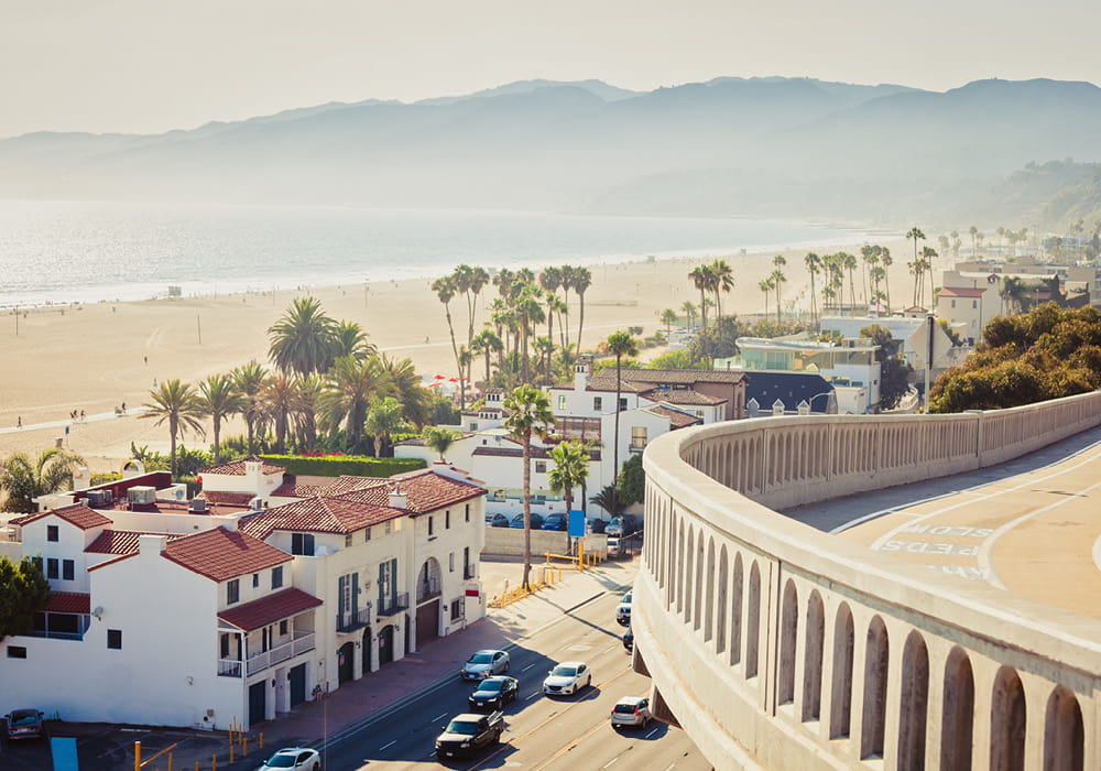 Balcony view of a beach in West Los Angeles.