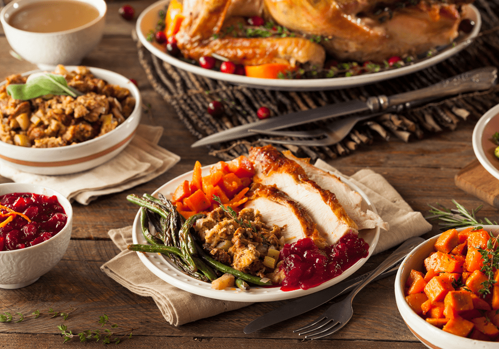 Table at Thanksgiving with classic dishes.