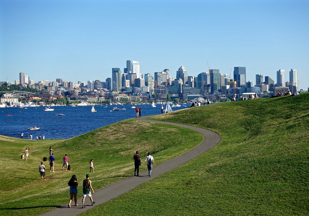 View of Seattle from park trail.