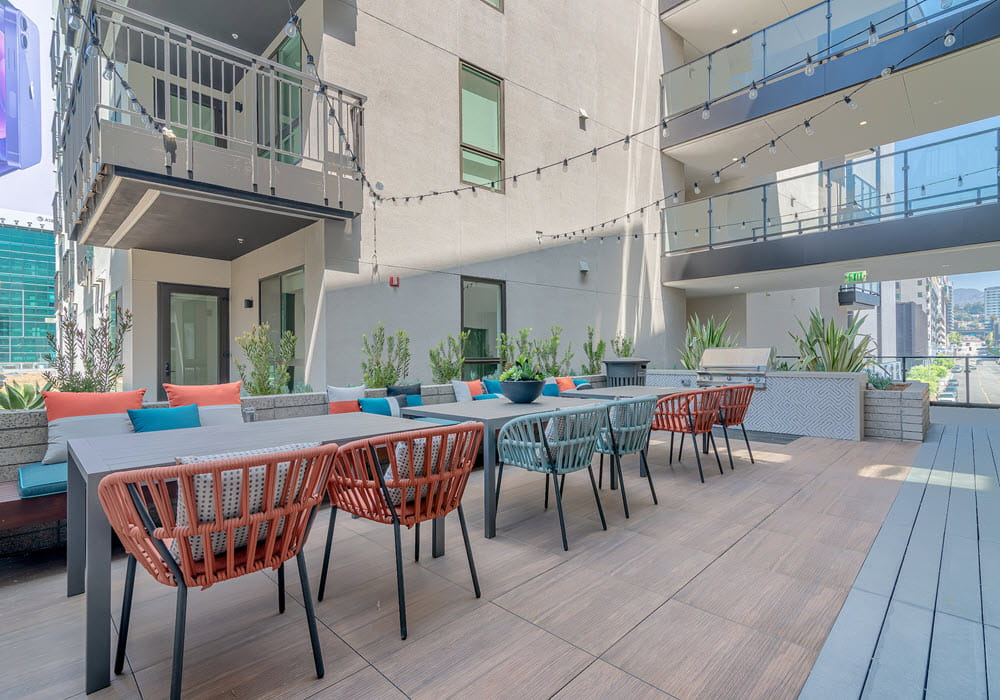 Outdoor community area with lounge seating at Wallace on Sunset.